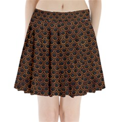 Scales2 Black Marble & Brown Marble Pleated Mini Skirt