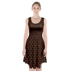 Scales2 Black Marble & Brown Marble Racerback Midi Dress