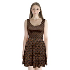 Scales2 Black Marble & Brown Marble Split Back Mini Dress