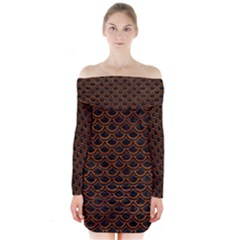 Scales2 Black Marble & Brown Marble Long Sleeve Off Shoulder Dress
