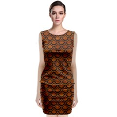 Scales2 Black Marble & Brown Marble (r) Classic Sleeveless Midi Dress