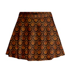 Scales2 Black Marble & Brown Marble (r) Mini Flare Skirt