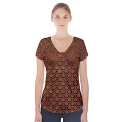 Scales2 Black Marble & Brown Marble (r) Short Sleeve Front Detail Top