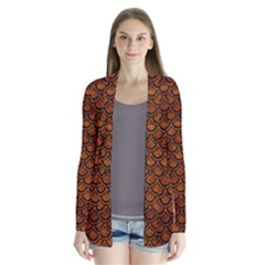 Scales2 Black Marble & Brown Marble (r) Drape Collar Cardigan