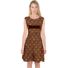 Scales2 Black Marble & Brown Marble (r) Capsleeve Midi Dress