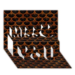 Scales3 Black Marble & Brown Marble Miss You 3d Greeting Card (7x5)