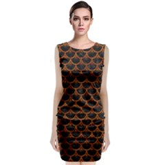 Scales3 Black Marble & Brown Marble Classic Sleeveless Midi Dress
