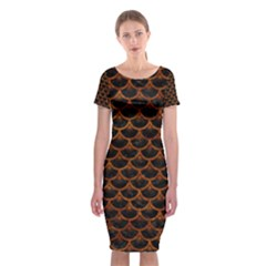 Scales3 Black Marble & Brown Marble Classic Short Sleeve Midi Dress