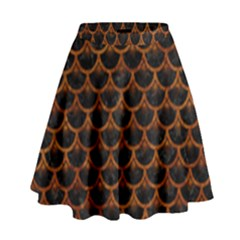Scales3 Black Marble & Brown Marble High Waist Skirt