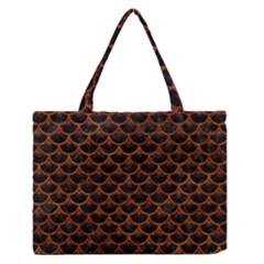 Scales3 Black Marble & Brown Marble Medium Zipper Tote Bag
