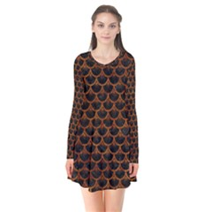 Scales3 Black Marble & Brown Marble Long Sleeve V Neck Flare Dress