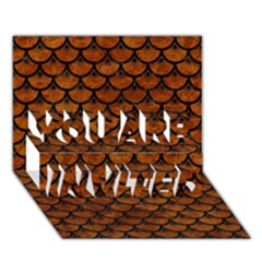 Scales3 Black Marble & Brown Marble (r) You Are Invited 3d Greeting Card (7x5)