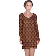 Scales3 Black Marble & Brown Marble (r) Long Sleeve Nightdress