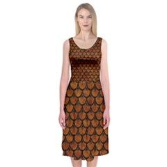 Scales3 Black Marble & Brown Marble (r) Midi Sleeveless Dress