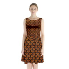 Scales3 Black Marble & Brown Marble (r) Sleeveless Waist Tie Chiffon Dress