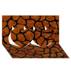 Skin1 Black Marble & Brown Marble Twin Hearts 3d Greeting Card (8x4)