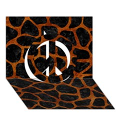 Skin1 Black Marble & Brown Marble (r) Peace Sign 3d Greeting Card (7x5)