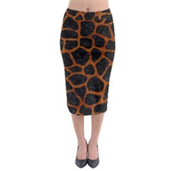 Skin1 Black Marble & Brown Marble (r) Midi Pencil Skirt