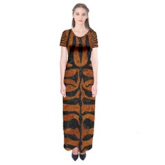 Skin2 Black Marble & Brown Marble (r) Short Sleeve Maxi Dress