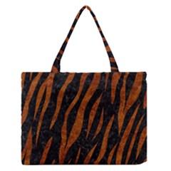 Skin3 Black Marble & Brown Marble Medium Zipper Tote Bag