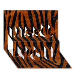 Skin4 Black Marble & Brown Marble Miss You 3d Greeting Card (7x5)