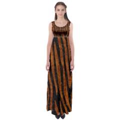 Skin4 Black Marble & Brown Marble (r) Empire Waist Maxi Dress