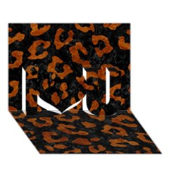 Skin5 Black Marble & Brown Marble (r) I Love You 3d Greeting Card (7x5)