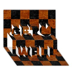 Square1 Black Marble & Brown Marble Get Well 3d Greeting Card (7x5)