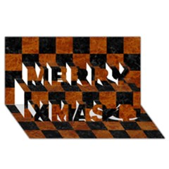 Square1 Black Marble & Brown Marble Merry Xmas 3d Greeting Card (8x4)