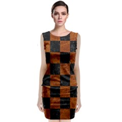 Square1 Black Marble & Brown Marble Classic Sleeveless Midi Dress