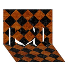 Square2 Black Marble & Brown Marble I Love You 3d Greeting Card (7x5)