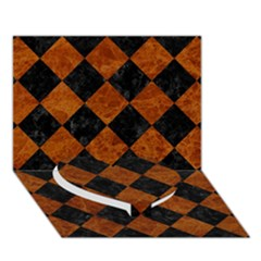 Square2 Black Marble & Brown Marble Heart Bottom 3d Greeting Card (7x5)