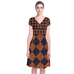 Square2 Black Marble & Brown Marble Short Sleeve Front Wrap Dress
