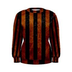 Stripes1 Black Marble & Brown Marble Women s Sweatshirt