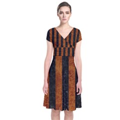 Stripes1 Black Marble & Brown Marble Short Sleeve Front Wrap Dress