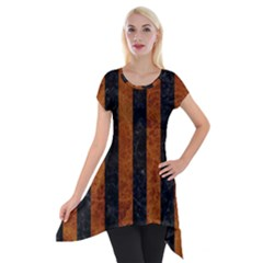 Stripes1 Black Marble & Brown Marble Short Sleeve Side Drop Tunic