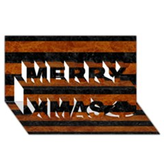Stripes2 Black Marble & Brown Marble Merry Xmas 3d Greeting Card (8x4)
