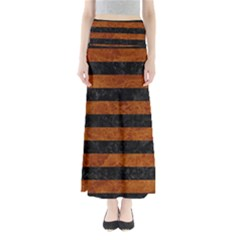 Stripes2 Black Marble & Brown Marble Full Length Maxi Skirt