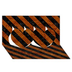 Stripes3 Black Marble & Brown Marble (r) Twin Hearts 3d Greeting Card (8x4)