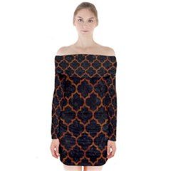 Tile1 Black Marble & Brown Marble Long Sleeve Off Shoulder Dress