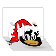Christmas Animal Clip Art Girl 3d Greeting Card (7x5)