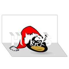 Christmas Animal Clip Art Hugs 3d Greeting Card (8x4)