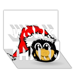 Christmas Animal Clip Art Work Hard 3d Greeting Card (7x5)