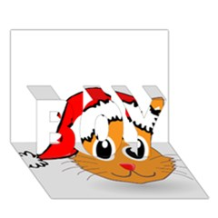 Cat Christmas Cartoon Clip Art BOY 3D Greeting Card (7x5)
