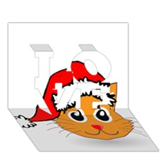 Cat Christmas Cartoon Clip Art LOVE 3D Greeting Card (7x5)