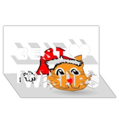 Cat Christmas Cartoon Clip Art Best Wish 3d Greeting Card (8x4)