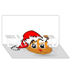 Cat Christmas Cartoon Clip Art ENGAGED 3D Greeting Card (8x4)