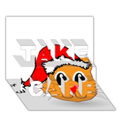 Cat Christmas Cartoon Clip Art TAKE CARE 3D Greeting Card (7x5)