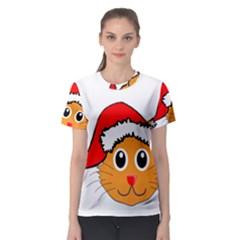 Cat Christmas Cartoon Clip Art Women s Sport Mesh Tee