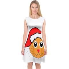 Cat Christmas Cartoon Clip Art Capsleeve Midi Dress